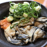 電光石火 - [広島直送]本日の牡蠣料理1480円、天日干しした冷製牡蠣ポン酢、大ぶりの牡蠣が4個入ってはいたがこれで1480円とはさすが銀座価格。