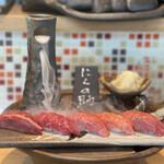 143019179 - 特選肉寿司5貫(マルカワ・カメノコ・シンシン・トモサンカク・ランプ)。