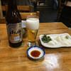 きそば 柏屋 - 料理写真:晩酌セットの大瓶ビールと板わさ