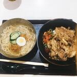肉のヤマキ商店 - 料理写真:●焼肉丼(小)80g 429円 ●セット冷麺 385円