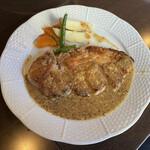 おきらく食堂 - 三元豚のロースステーキ 粒マスタードソース