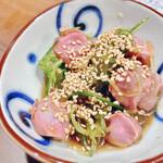 風来坊  - 低温調理砂肝の柚子胡椒風味 520円