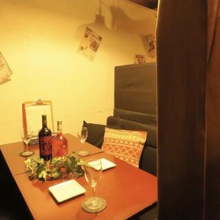 2名様~個室♪ゆったりと食事を楽しめる寛ぎの空間でディナーを