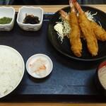 中央食堂 - 大えびフライ定食(大盛)