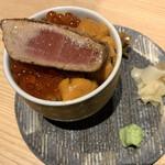 yakiuoishikawa - 締めの雲丹いくら丼、大トロ炙りのせ(14,000円コース)