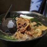 大地のうどん - ミニうどん+肉トッピング(計560円)