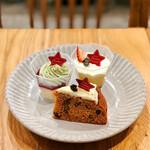 バタフライエフェクト - ピスタチオクリームのホワイトチョコムース、キャロットケーキ、プリン、