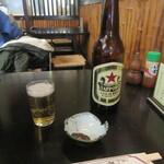 神田まつや - ビール・お通しの「そば味噌」