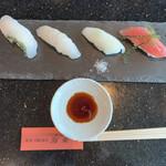 ryuukyuukaitensushimirai - 県産魚の食べ比べセットです。