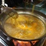 とりきん佐藤 - 〆は雑炊! 卵たっぷり入れて・・・