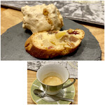 クリマ ディ トスカーナ - 小菓子はメレンゲ菓子にアーモンドとクルミを練り込んだ焼き菓子 下はエスプレッソ