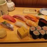 寿司あおい - 上握り(中とろ、白身、生サーモン、えんがわ、あじ、いか、蒸し海老、いくら軍艦、玉子、ねぎとろ巻)