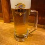 我流担々麺 竹子 - 生ビール 一番搾り 中ジョッキ 450円