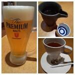 ごはんや農家の台所 - ちょい呑みセット「生ビール中(プレモル)」「鶴齢 純米吟醸」「紅茶」