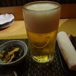 土風炉 - 生ビール(クーポン)、お通し