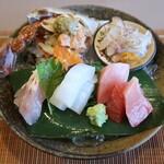 Chimatsushima - ワタリガニ、メバチ鮪、甘鯛昆布締め、アオリイカ、ハゼのお造り(ハゼの卵入り)