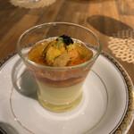 レストラン 大重亭 - 料理写真:前菜。下はプリンのようなもの。出汁の効いたジュレとウニとキャビアとワサビ乗ってる