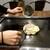 満月のお好み焼 - 料理写真:店員さんが生地を投入!