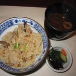 濱喜久 - 2020年の「華コース」鶏の炊き込みご飯、赤出汁、香物