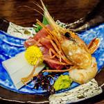 ホテル季古里 - 刺身(鰆・甲鳥賊・牡丹海老)