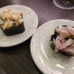 亀正くるくる寿司 - はげの肝和えとあめたの糸切り。共に別府産で180円。