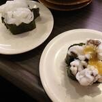亀正くるくる寿司 - 別府・長崎産のいかそーめんと別府産のはも、それぞれ130円。