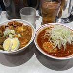 蒙古タンメン中本 - 半蒙古丼と半北極 ネギ増し味玉ご飯少なめ