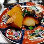 天麩羅 おばた - 銀鱈西京焼き、安納芋、菜花お浸し、むかご