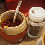 堂山食堂 - こぼし麻婆豆腐(自家製ラー油、花椒)