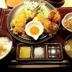 串亭 - 「鯵フライと地鶏つくねカツ御膳(2020.11)