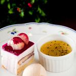 菜食志向 - デザートはプラス150円で、3種盛り合わせを付けることができます。