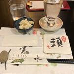 夜行列車 - お通し+新潟県 〆張鶴 純 純米吟醸