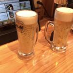 備長炭やきとり 美味美味 - 生ビール(スーパードライ?)