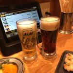 備長炭やきとり 美味美味 - 生ビール(黒ビール)