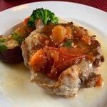 143584520 - 鶏もも肉のソテー トマトとガーリックのシェリービネガーソース