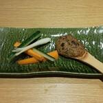 ソバキチ - 肉味噌シャモジ焼き