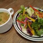 cafe sov - 鴨肉とせりのボロネーゼのスープとサラダ♪