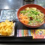 ゆで太郎 - 肉モヤシあんかけ中華580円、焼きのり100円、クーポンかき揚げ