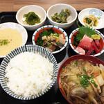 ごっつり - 鯖、マグロの漬けトロ定食 ¥900 鯖、まぐろの刺身+とろろを中心に 副菜が並びますが、何と言っても手前の「せんべい汁」が美味!