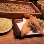 14363443 - 「お試し蕎麦切り(つけ汁と胡麻汁セット)」と「天麩羅」