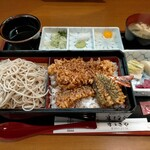 すずきや - 料理写真:合わせ天重1400円+そば大盛り150円
