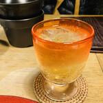 くらの坊 - 梅酒だよ。グラスの色、暖で素敵。