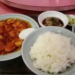 松竹飯店 - 小エビのチリソース煮込みセット 1100円