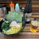 家系ラーメン 教道家 - らーめんのり増し+ビール