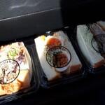 考えた人すごいわ - 自家製海老カツとチェダーチーズのサンド(380円)&蔵王地養卵サンド(340円)&自家製ミルフィーユのカツサンド(400円)