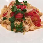143685808 - 「スパゲッティ 小柱とフレッシュトマトのアーリオオーリオ」