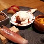 宮崎風土 くわんね - ⚫みやざき八寸 旬のものを少しづつチキン南蛮、燻製鯖、茗荷・玉子焼き、柿鱠、さつまいも、鰹炊いたの