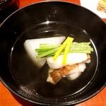 Shinohara - お椀(甘鯛、カラスミ餅、淀大根)