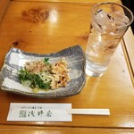 Asanoya - 季節のお浸しとしなの水割り