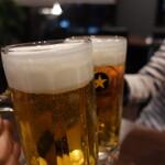 焼肉元太 - 生ビールで乾杯